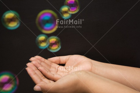 Fair Trade Photo Activity, Christmas, Closeup, Dreaming, Hand, Hope, Horizontal, Peru, Playing, Soapbubble, South America, Studio, Transparent, Water