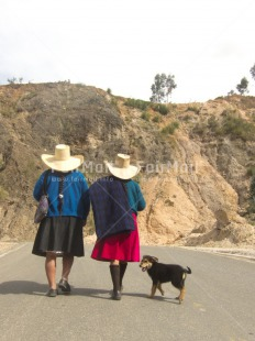 Fair Trade Photo Activity, Clothing, Colour image, Day, Friendship, Latin, Outdoor, People, Peru, Rural, Sombrero, South America, Traditional clothing, Two women, Vertical, Walking