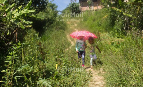 Fair Trade Photo Activity, Casual clothing, Clothing, Colour image, Day, Emotions, Friendship, Happiness, Horizontal, Outdoor, People, Peru, Running, Rural, Smiling, South America, Together, Two girls, Umbrella, Walking