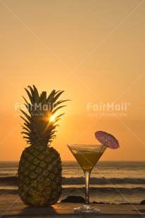 Fair Trade Photo Beach, Cocktail, Colour image, Food and alimentation, Fruits, Holiday, Invitation, Party, Peru, Pineapple, South America, Summer, Sunset, Travel, Vertical