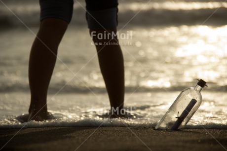Fair Trade Photo Beach, Bottle, Colour image, Horizontal, Love, Miss you, Peru, Sea, Shooting style, Silhouette, South America, Valentines day, Water