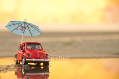 Fair Trade Photo Car, Colour image, Holiday, Horizontal, Outdoor, Peru, Rain, Red, Seasons, South America, Summer, Transport, Umbrella, Water