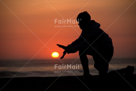 Fair Trade Photo Ball, Boy, Colour image, Horizontal, Outdoor, People, Peru, Shooting style, Silhouette, South America, Sunset