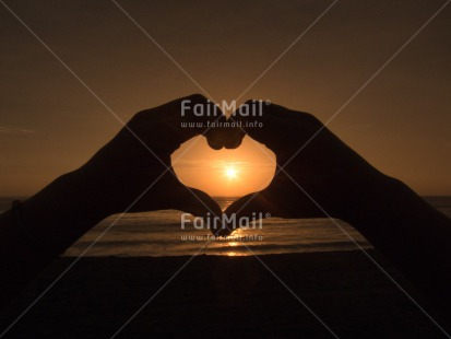 Fair Trade Photo Beach, Colour image, Evening, Hand, Heart, Horizontal, Love, Outdoor, Peru, Romantic, Sea, South America, Summer, Sunset, Valentines day