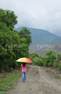 Fair Trade Photo Colour image, Confirmation, One girl, Outdoor, People, Peru, Rural, South America, Travel, Umbrella, Vertical