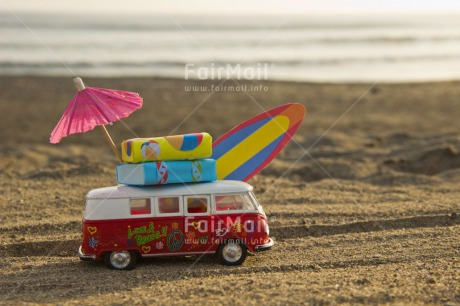 Fair Trade Photo Beach, Bus, Colour image, Good trip, Holiday, Horizontal, Relax, Surfboard, Transport, Travel, Umbrella