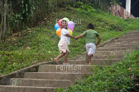 Fair Trade Photo Activity, Balloon, Birthday, Colour image, Emotions, Friendship, Happiness, Horizontal, Party, People, Peru, South America, Stairs, Two children, Walking