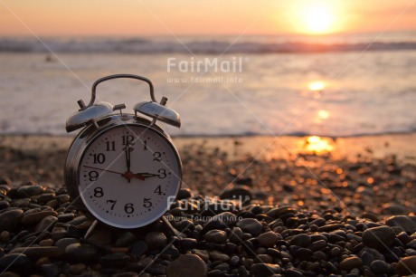 Fair Trade Photo Beach, Clock, Colour image, Emotions, Happiness, Horizontal, Peru, Sea, South America, Summer, Sunset, Time