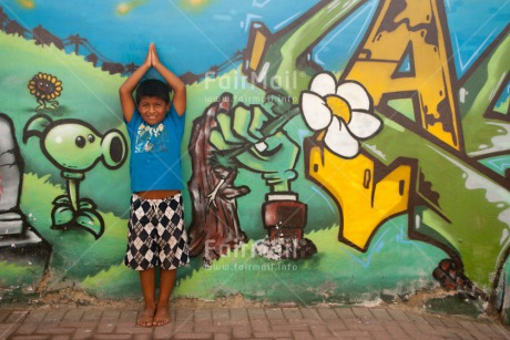 Fair Trade Photo Casual clothing, Clothing, Colour image, Graffity, Health, Horizontal, Latin, One boy, Outdoor, People, Peru, South America, Together, Urban, Wellness, Yoga