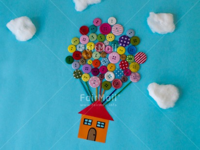 Fair Trade Photo Balloon, Button, Clouds, Colour image, Horizontal, House, New home, Peru, Sky, South America