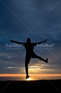 Fair Trade Photo Activity, Beach, Colour image, Colourful, Emotions, Evening, Happiness, Jumping, Light, One man, One person, Outdoor, People, Peru, Shooting style, Silhouette, Sky, South America, Strength, Success, Sun, Sunset, Vertical