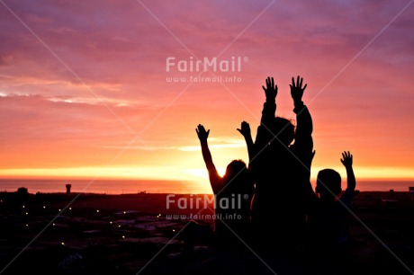 Fair Trade Photo Beach, Colour image, Colourful, Emotions, Evening, Friend, Friendship, Happiness, Happy, Horizontal, Light, Outdoor, People, Peru, Shooting style, Silhouette, Sky, South America, Sun, Sunset