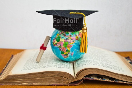 Fair Trade Photo Book, Clothing, Colour image, Congratulations, Diploma, Globe, Hat, Horizontal, Indoor, Peru, South America, Success, White