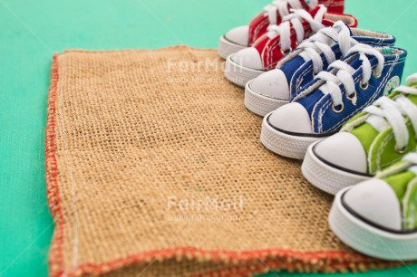 Fair Trade Photo Blue, Colour image, Doormat, Family, Horizontal, Moving, New home, Peru, Shoe, South America, Welcome home