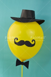 Fair Trade Photo Balloon, Birthday, Blue, Clothing, Colour image, Fathers day, Friendship, Hat, Moustache, Mug, Party, Peru, South America, Vertical, Yellow