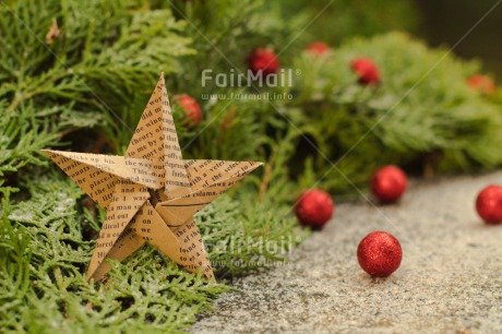 Fair Trade Photo Christmas, Christmas ball, Christmas decoration, Colour image, Green, Horizontal, Peru, Pine, Red, Snow, South America, Star