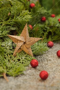 Fair Trade Photo Christmas, Christmas ball, Christmas decoration, Colour image, Green, Horizontal, Peru, Pine, Red, Snow, South America, Star, Vertical