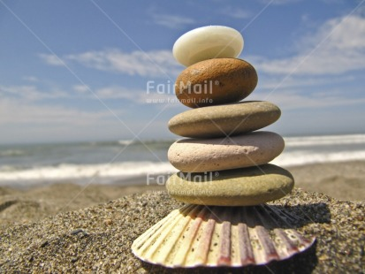 Fair Trade Photo Balance, Beach, Colour image, Condolence/Sympathy, Focus on foreground, Horizontal, Outdoor, Peru, Sand, Sea, Seasons, Shell, South America, Spirituality, Stone, Summer, Thinking of you, Wellness