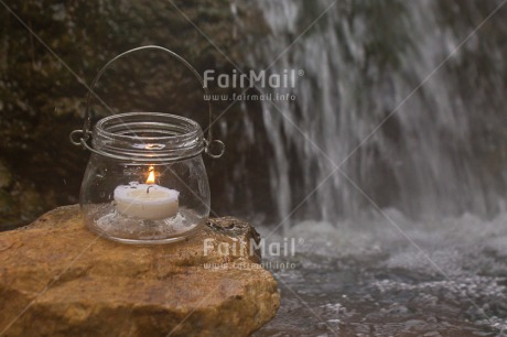 Fair Trade Photo Candle, Colour image, Condolence/Sympathy, Glass, Horizontal, Light, Peru, River, South America, Water, Waterfall, White