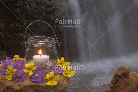 Fair Trade Photo Candle, Colour image, Condolence/Sympathy, Flower, Flowers, Fog, Glass, Horizontal, Light, Peru, Purple, River, South America, Water, Waterfall, White, Yellow
