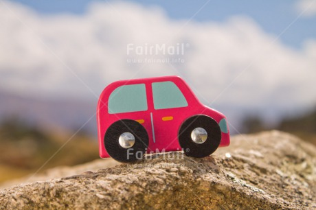 Fair Trade Photo Activity, Boy, Brother, Car, Colour image, Day, Fathers day, Horizontal, Male, Mountain, Nature, Outdoor, People, Peru, Red, Road, South America, Toy, Transport, Travel, Travelling
