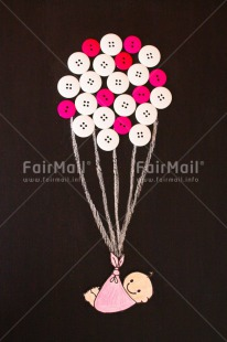 Fair Trade Photo Activity, Baby, Balloon, Birth, Blackboard, Colour image, Daughter, Drawing, Flying, Girl, New baby, People, Peru, Pink, South America, Vertical
