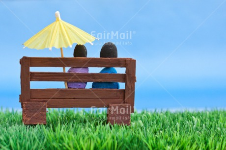 Fair Trade Photo Bench, Blue, Colour image, Couple, Grass, Green, Horizontal, Love, Peru, Rock, Sky, South America, Thinking of you, Umbrella, Valentines day, Wedding