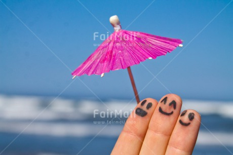Fair Trade Photo Activity, Colour image, Friendship, Funny, Holiday, Horizontal, Peru, Relax, Relaxing, Sea, Smile, South America, Summer, Together, Umbrella