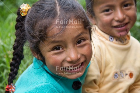 Fair Trade Photo Activity, Colour image, Emotions, Friendship, Happiness, Health, Horizontal, Looking at camera, People, Peru, Portrait headshot, Smiling, South America, Two children