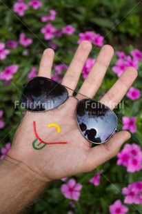 Fair Trade Photo Colour image, Emotions, Funny, Glasses, Hand, Happiness, Peru, Smile, South America, Vertical