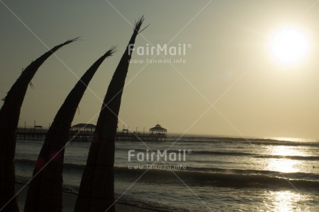 Fair Trade Photo Beach, Colour image, Fishing boat, Horizontal, Peru, Sea, South America, Sunset