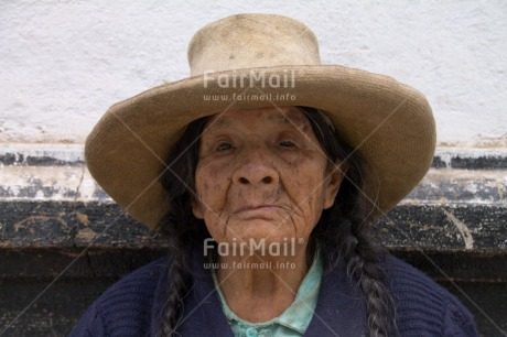 Fair Trade Photo Activity, Colour image, Horizontal, Looking at camera, Old age, One woman, People, Peru, Portrait headshot, Sombrero, South America