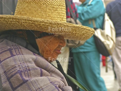 Fair Trade Photo 65-70_years, Activity, Clothing, Colour image, Hat, Horizontal, Latin, Looking away, Old age, One woman, People, Peru, Portrait headshot, Rural, Sleeping, South America