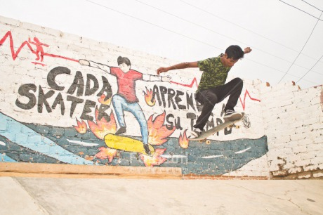 Fair Trade Photo Activity, Birthday, Colour image, Feet, Horizontal, Jumping, Male, Multi-coloured, One boy, One man, One person, Outdoor, People, Peru, Skateboard, Skating, South America, Sport, Street, Streetlife, Strength, Success