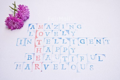 Fair Trade Photo Blue, Colour image, Flower, Letter, Mothers day, Peru, Print, Puzzle, Red, South America, Text, White