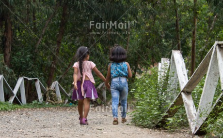 Fair Trade Photo Activity, Colour image, Friendship, Horizontal, Outdoor, People, Peru, Rural, South America, Together, Two girls, Walking