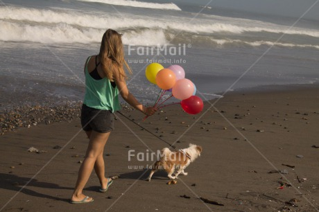 Fair Trade Photo Activity, Animals, Balloon, Beach, Birthday, Colour image, Dog, Horizontal, One girl, Party, People, Peru, Sea, South America, Summer, Walking