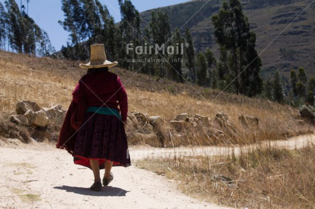 Fair Trade Photo Activity, Clothing, Colour image, Ethnic-folklore, Hat, Horizontal, Old age, One woman, People, Peru, Rural, South America, Traditional clothing, Walking