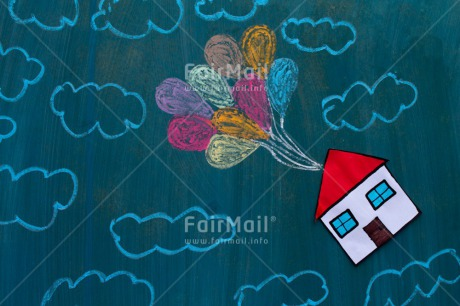 Fair Trade Photo Balloon, Clouds, House, New home, Sky