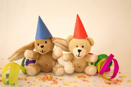 Fair Trade Photo Activity, Animals, Bear, Birthday, Celebrating, Clothing, Colour image, Hat, Horizontal, Multi-coloured, Peru, Rabbit, South America, Toy, Two