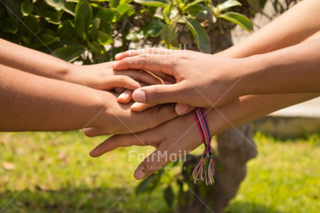 Fair Trade Photo Colour image, Day, Friendship, Group, Hands, Horizontal, People, Peru, South America, Success, Team, Together, Youth