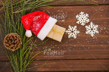 Fair Trade Photo Branch, Brown, Christmas, Clothing, Colour image, Gift, Green, Hat, Indoor, Peru, Pine, Red, Santaclaus, Seasons, Snow, South America, Winter, Wood