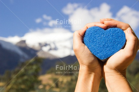 Fair Trade Photo Blue, Colour image, Day, Fathers day, Hands, Heart, Horizontal, Landscape, Love, Mountain, Nature, Outdoor, Peru, Sky, South America, Valentines day