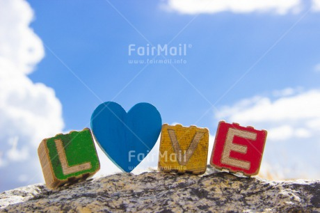 Fair Trade Photo Blue, Clouds, Colour image, Colourful, Day, Heart, Horizontal, Letters, Love, Marriage, Multi-coloured, Outdoor, Peru, Sky, South America, Text, Valentines day, Wedding, Wood