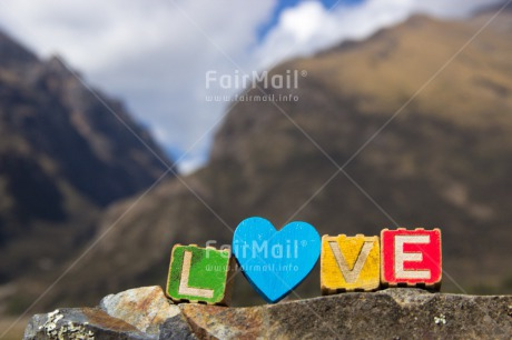 Fair Trade Photo Colour image, Colourful, Day, Heart, Horizontal, Letters, Love, Marriage, Mountain, Multi-coloured, Nature, Outdoor, Peru, South America, Text, Valentines day, Wedding, Wood