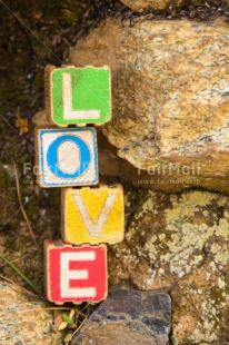 Fair Trade Photo Colour image, Colourful, Day, Letters, Love, Marriage, Multi-coloured, Nature, Outdoor, Peru, South America, Stone, Text, Valentines day, Vertical, Wedding, Wood