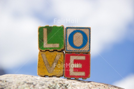 Fair Trade Photo Blue, Clouds, Colour image, Colourful, Day, Horizontal, Letters, Love, Marriage, Multi-coloured, Outdoor, Peru, Sky, South America, Text, Valentines day, Wedding, Wood