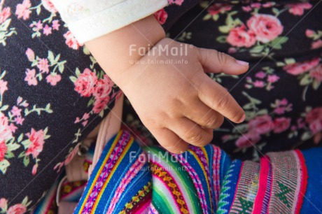 Fair Trade Photo Baby, Baptism, Birth, Cloth, Colour image, Colourful, Day, Hand, Horizontal, Multi-coloured, New baby, Outdoor, People, Peru, South America