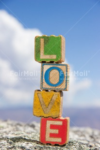 Fair Trade Photo Blue, Clouds, Colour image, Colourful, Day, Letters, Love, Marriage, Multi-coloured, Outdoor, Peru, Sky, South America, Text, Valentines day, Vertical, Wedding, Wood