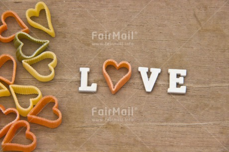 Fair Trade Photo Colour image, Food and alimentation, Heart, Letters, Love, Macaroni, Marriage, Peru, South America, Text, Valentines day, Wedding